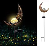 "WSgift 40"" H Solar Moon Garden Lights Crackle Glass Globe Moon Metal Yard Stake Lights,Waterproof Warm White F3 LED for Lawn, Pathway, Patio or Courtyard"