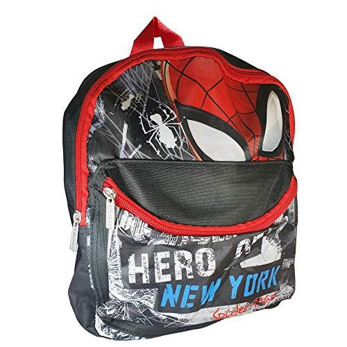 Zaino Scuola Asilo Spiderman Con Zaino 2 Zip In Poliestere - Prodotto Licenziato Originali Con Due Scompartimenti - Fodera Tasca Anteriore Intercambiabile - Spallacci imbottiti - 29x24x10 cm