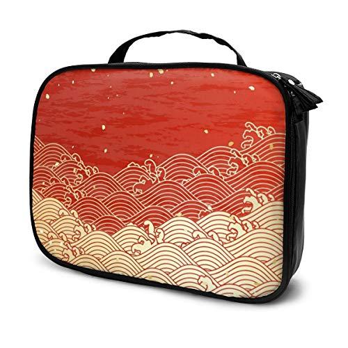 Les sacs à cosmétiques pour les femmes voyagent, Golden Wave avec un étui à crayons texturé