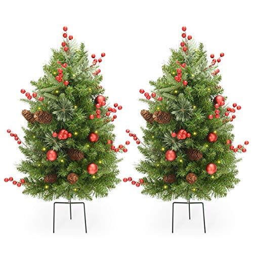 LIFEFAIR 30 Inch Outdoor Christmas Tree Set of 2,Pre-Lit LED Christmas Porch Decorations Outdoor Tree, 260 Branch Tips Lush,Pine Cones, Red Berries and Red Ball