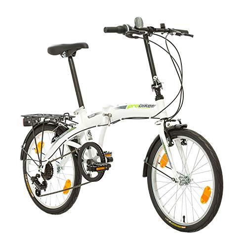 Multibrand, PROBIKE Folding 20, 20 Pollici, 310 mm, City Bike Pieghevole, 6 velocità, Unisex, Anteriore e Posteriore Mudgard, Shimano, Bianco Verde (Bianco-Verde)