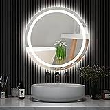 Amorho 80cm Redondo Espejo Baño Espejo de Pared Espejo Colgante Dormitorio Función Antivaho con Luz LED Interruptor Táctil...