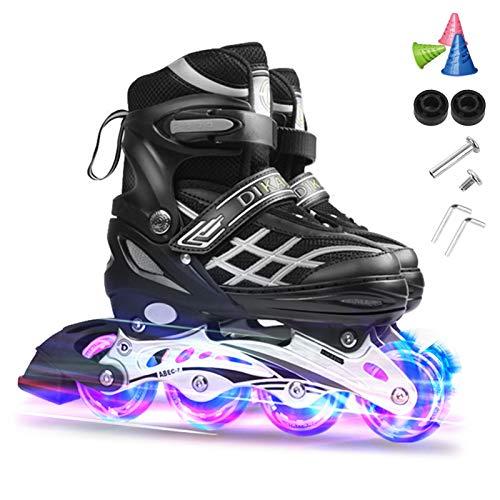 Lixada Inliner Skates für Kinder/Jungen/Mädchen, Einstellbare beleuchtende Bequeme Inline-Skates mit leuchtenden Rädern für Kinder und Jugendliche Inline-Skates,Größe 27-32/33-37/38-41