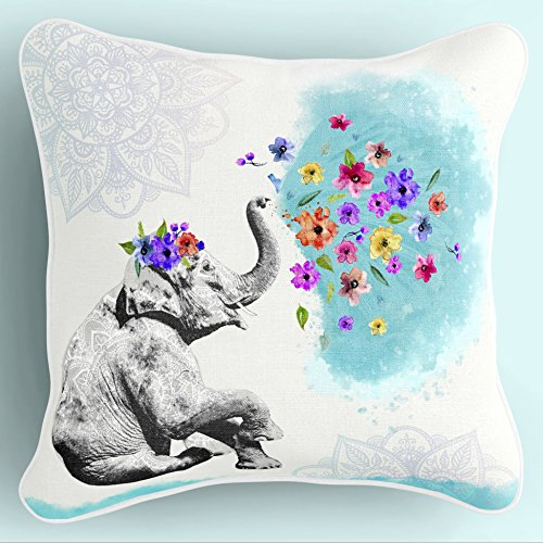 Lume.ly - Cute Mandala Bohemian Baby Elephant Decorative Throw Pillow Cushion Cover Case for Couch Bed Bedroom, Unique Elegant Designer Vibrant Art Home Decor (Aqua Blue & White) (18x18 inches)