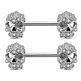 OUFER 2PCS 14G 316L Surgical Steel Nipple Rings Barbell Clear CZ Skull Nipple Bars Nipple Piercing