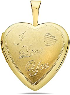 14K Solid Yellow Gold Heart Locket Pendants- For Photos, Messages, sentimental's