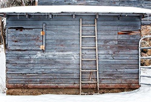 YongFoto 7x5ft Fotografie Backdrop Shabby Chic Houten Huis Ladder Zware sneeuw Winter Natuur Kerstmis Foto Achtergrond Fotografie Fotografie Shoots Party Kids Persoonlijk Portret Photo Studio Props