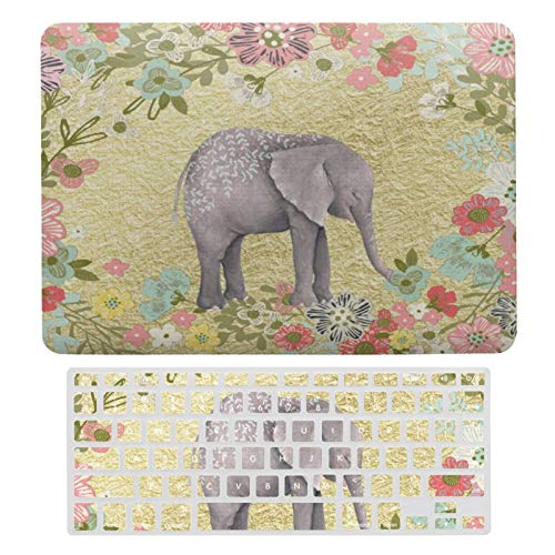 MacBook Air 13 Inch Case(A1369 & A1466, Older Version 2010-2017 Release), Plastic Hard Protective Laptop Case Shell with Keyboard Cover, Classy Watercolor Elephant Floral Frame Gold Foil