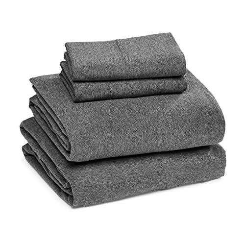 Amazon Basics Heather Cotton Jersey Bed Sheet Set - King, Dark Grey