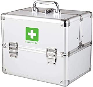 Household Portable Medicine Chest Multi-Layer Large-Capacity Medicine Storage Box First-aid Box Medical Box A Variety of Sizes Available AMINIY (Color : Silver, Size : 240×165×185mm)