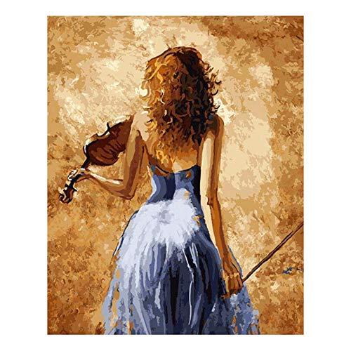 iCoCofly Diamond Painting, pittura a diamante per bambini, grande, con strass, per pittura fai da te, decorazione da parete, decorazione da parete, motivo ragazza in gonna blu con chitarra, 30 x 40 cm