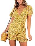 Relipop Summer Women Short Sleeve Print Dress V Neck Casual Short Dresses (Large, T5)