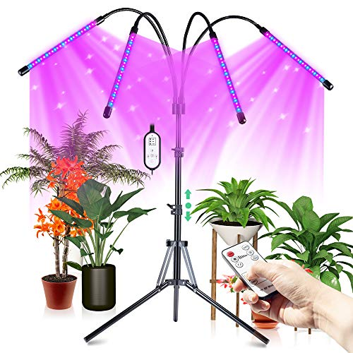 CRAZCALF 120LED Grow Light for Indoor Plants 100W Four-Head Plant Light with Stand 9 Levels Brightness LED Grow Lights Timer 4/8/12H, Tripod Adjustable 12-62 inch, Grow Lamp with Remote Control