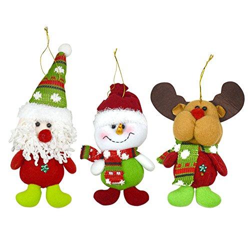 Lot de 3 Décoration de Noël 20,3 cm Nouvel An Décoration de Noël à suspendre Père Noël bonhomme de neige Cerf
