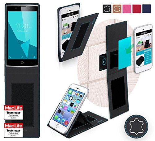 reboon Hülle für Alcatel OneTouch Flash 2 Tasche Cover Case Bumper | Schwarz Leder | Testsieger