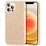 zelaxy Case Compatible with iPhone 12 / iPhone 12 Pro, Protective 3 Layer Anti-Slick Slim Bling Sparkly Glitter Cover for iPhone 12 / iPhone 12 Pro 6.1 inch (Gold)