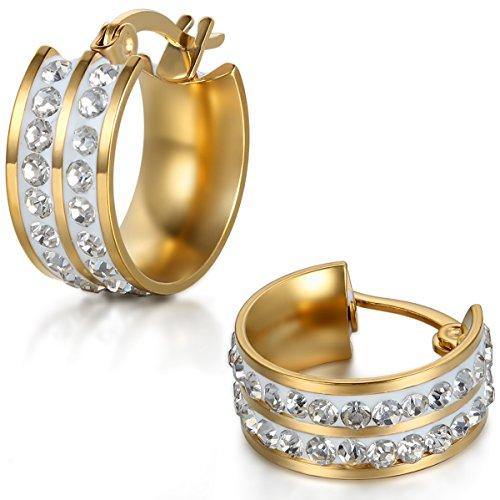 Jewelrywe Gioielli Orecchini da Uomo Donna, Orecchini a Cerchio, Acciaio Inossidabile Strass, Argento Oro(con Borsa Regalo)