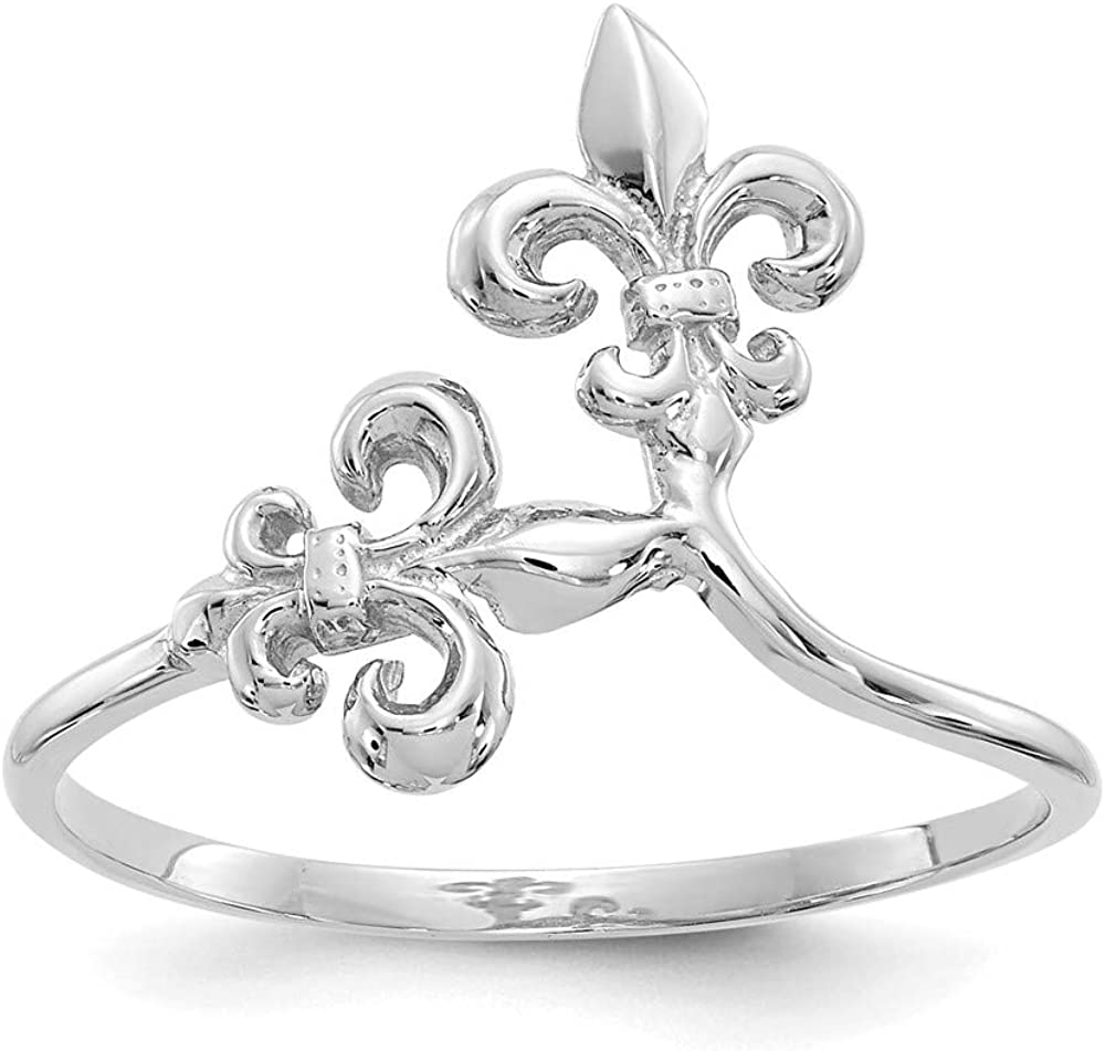 14k White Gold Fleur De Lis Band Ring Size 7.00 Fine Jewelry For Women Gifts For Her