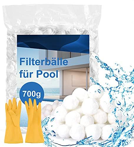 Sholov Filterballs für Sandfilteranlagen, 700g/1400g Filterbälle für Pool(Mit Reinigungshandschuhen) Kann 25/50 kg Filtersand Ersetzen, Geeignet für Pool Filter Schwimmbad Filteranlage (700)