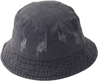 Washed Hole Denim Sun Hat Women Fashion Tassel Floppy Cap Ladies Wide Brim Beach Summer Bucket Hats Cotton Foldable,Gray,M