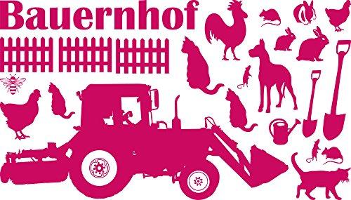GRAZDesign muurtattoo kinderkamer boerderij met dieren - wandsticker wanddecoratie jeugdkamer tractor trekker / 770076 041, roze.