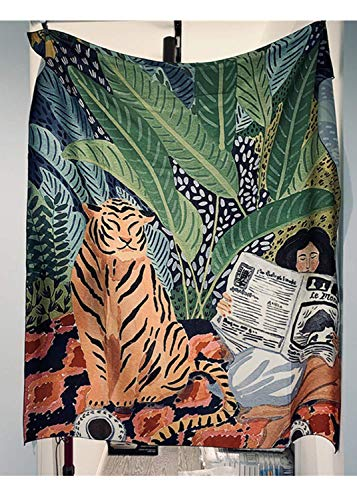 JOOCAR Watercolor Tapestry Hand Drawing Tiger Palm Leaf Tropical Botanic Plants Vintage Wall Hanging Tapestries for Living Room Bedroom Home Decor 59.1' x 59.1'