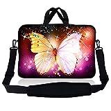 Laptop Skin Shop Neopren-Schutzhülle mit Tragegriff und verstellbarem Schultergurt, glitzernder Schmetterling