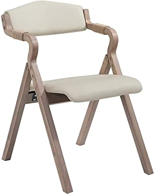 Kitchen Home Decor Solid Wood Dining Chair Folding Chair with Hemp Rope Armrest Comfortable Backrest and Upholstered Padded PU Seat for Kitchen Beige Faux Leather Stool Vintage Max. 150kg