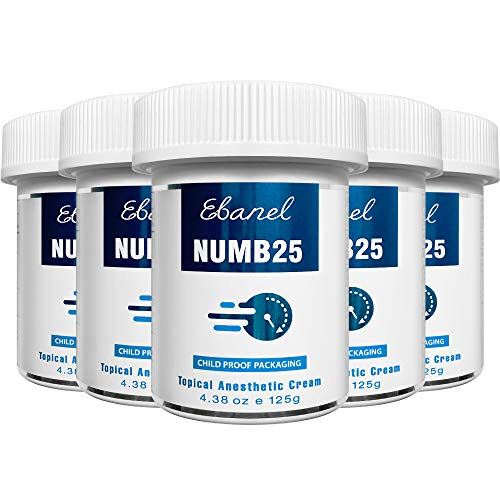 Ebanel 5% Lidocaine Topical Numbing Cream Maximum Strength, 5-Pack of 4.38 Oz, N25 Pain Relief Cream Anesthetic Cream Infused with Aloe Vera, Vitamin E, Lecithin, Allantoin, with Child Resistant Cap