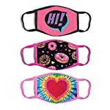 ABG Accessories 3-Pack Kid Fashionable Germ Protection, Reusable Fabric Face Mask Age, Donuts, Girls 4-14