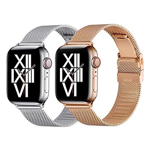 AFEKYY Correa de repuesto compatible con Apple Watch de 44 mm, 42 mm, 40 mm, 38 mm, acero inoxidable y metal compatible con Apple Watch 6/5/4/3/2/1, SE. (42 mm, 44 mm, plata/oro rosa).