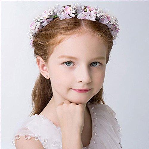 KMALL Rosa coroncina fiori capelli regolabile fiore per sposa damigella strass perlina d'onore bambina donna per matrimonio fotografia corona ghirlanda fiori fascia fiori