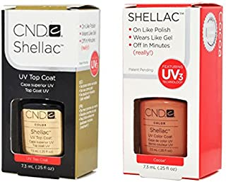 CND Shellac UVトップコート 7.3m l  &  UV カラーコー< Cocoa > 7.3ml [海外直送品]