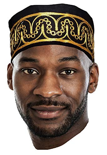 Dupsie's Adebo African Black Kufi Hat with Gold Embroidery