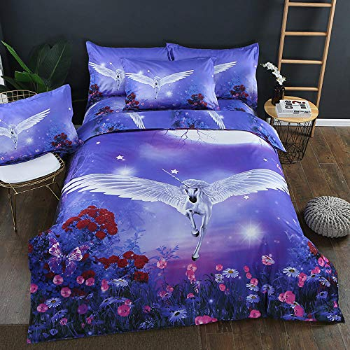 BSZHCT Bedding 86.6x94.5 inch Purple sky unicorn Duvet cover set Single 3 pcs with Zipper Closure with 2 Pillow covers Ultra Soft Hypoallergenic Microfiber Quilt Cover Sets