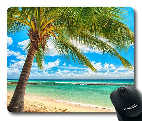 Preisvergleich Produktbild Ocean Tapestry by,  Exotic Beach Water and Palm Tree by The Shore with Clear Sky Landscape Image Gaming Mouse Pad, es,  Green Blue White