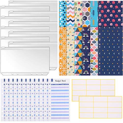 36 Pieces A6 Binder Budget Cash Envelopes System Budget Planner Organizer, 12 Budget Money Envelopes, 12 Expense Budget Sheets, 10 Binder Pockets, 24 Labels for Bill Planner (Assorted Style Elegant)