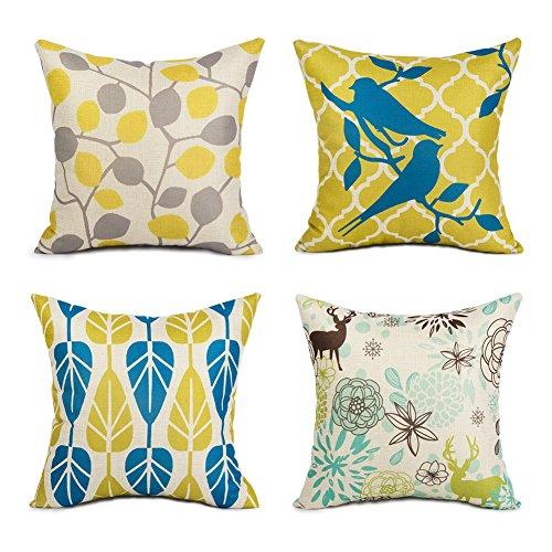 Topfinel Hogar 4 Cojines lino algodón fundas almohada decorativa para camas sofás sillas cuadrado 45X45cm hojas serie Bosque
