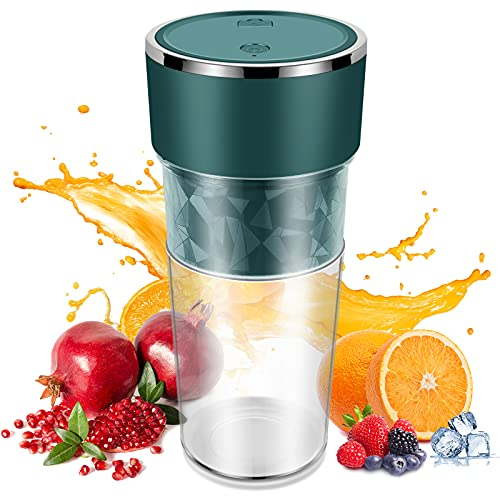 Cadai Portable Blender,USB Rechargeable Shakes and Smoothies Juicer Cup,Personal Size Blender for Fruit Mix and Vegetable Crush,Mini Travel Blender with BPA Free(GREEN)