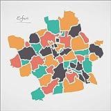 Poster 50 x 50 cm: Erfurt Stadt Landkarte modern abstrakt