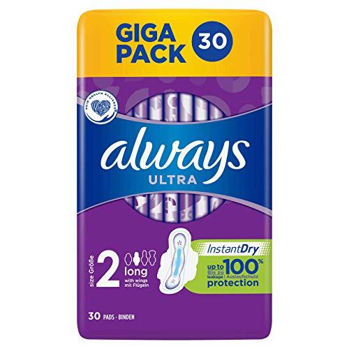 Always - Compresa extra larga (talla 2, con alas, 30 unidades, 166 g)