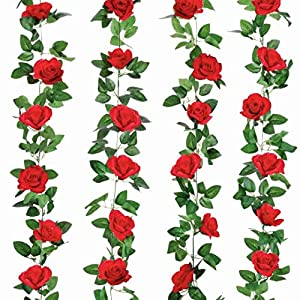 4 Pack 32FT Red Flower Garland Rose Flower Banners Artificial Aesthetic Flowers for Wedding Arch Party Garden Craft Room Décor(Red)