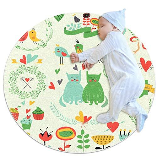 Alfombra de gateo para niños, diseño de pájaros, redondas, suaves, modernas, para suelos antideslizantes para decoraciones de habitación de 39.4 x 39.4 pulgadas