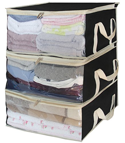 Foldable Storage Bags, Clothes Organizer Storage Containers for Clothing, Sweater, Bedding, Pillows, Blanket Storage Box in Bedroom, Closet,3 Piece Set, Black