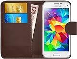 G-Shield Coque pour Samsung Galaxy S5 Mini, Étui en Cuir Portefeuille avec Porte-Cartes, Marron