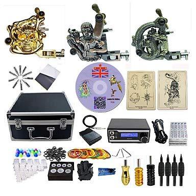 Basekey Máquina De Tatuaje Kit De Tatuaje Profesional - 3 Pcs Máquinas De Tatuaje Fuente De Alimentación LED Funda Incluida 2 X Máquina De Tatuaje De Acero Para Línea Y Sombreado/Una Aleación X