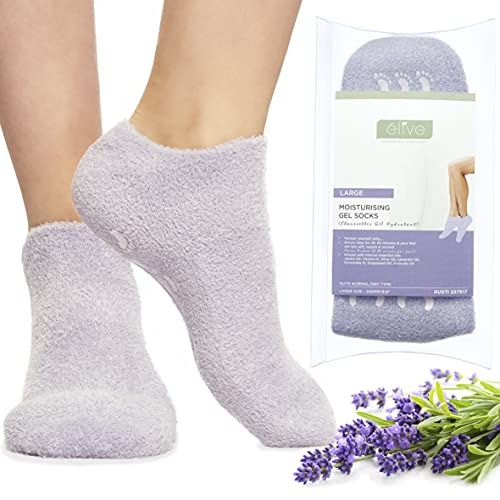 Elive Moisturizing Socks For Dry Cracked Feet Women Men - Essential Oil Infused Silicone, Foot Mask Care Spa Gel Sock, Cold Therapy, No Cream Lotion Treatment, Heel Socks Heal Repair Heels, 9.8  Large