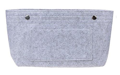 Vercord Felt Purse Tote Organizer Insert Divider Inside Handbag for Women Medium Light Grey