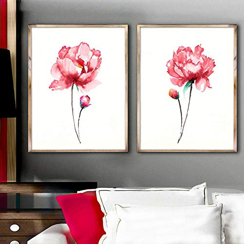 Verse bloemen canvas print set pioen kunst schilderij aquarel pioenrozen chique home decor abstract flower art print gift poster-40x60cmx2pcs geen frame