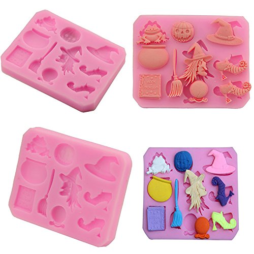 Hacoly Baking Molds Biscuit Molds Pastry Muffin Molds Halloween Witch Pumpkin Reusable Nonstick Cake Cookie Mould for Candy Chocolate Cake Biscuit Fondant DIY